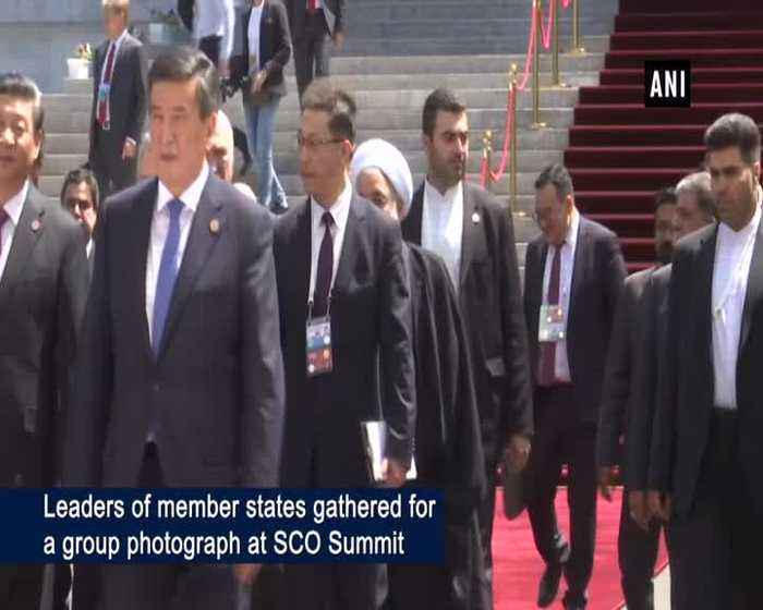 PM Modi shares stage with world leaders for group photograph at SCO Summit