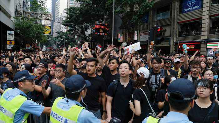 Hundreds Of Thousands Protest In Hong Kong