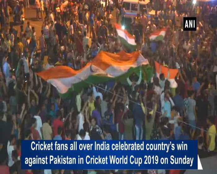 Cricket fans all over India celebrate win against Pakistan
