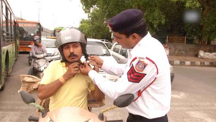 Delhi traffic police constable raps to spread road safety awareness