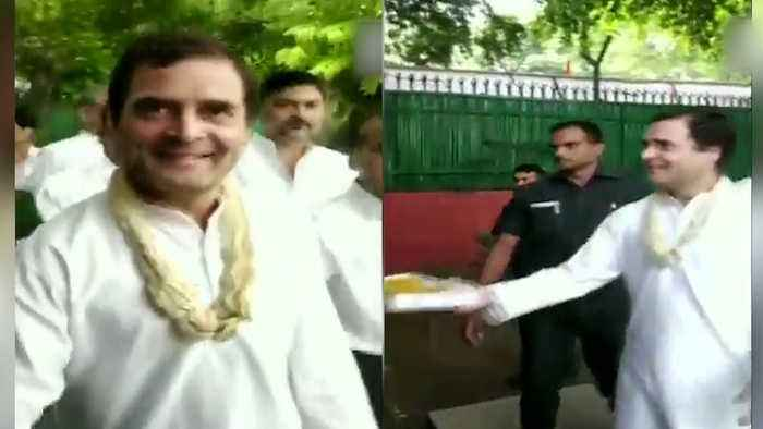 Rahul Gandhi shares ladoos with journos on his 49th birthday