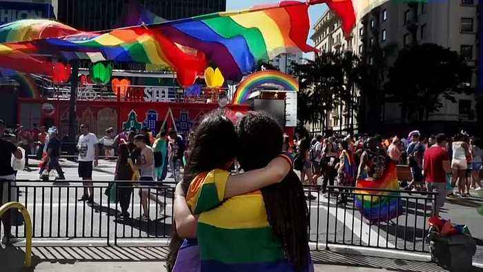 Sao Paulo celebrates gay pride with largest crowds yet