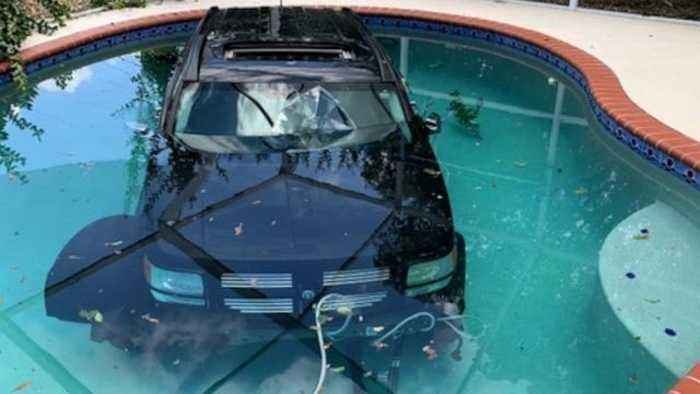 Car Ended Up In A Pool After Driver Hits Gas Instead Of Breaks