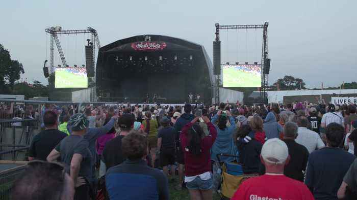 Glastonbury fans watch England progress to Women's World semi-final