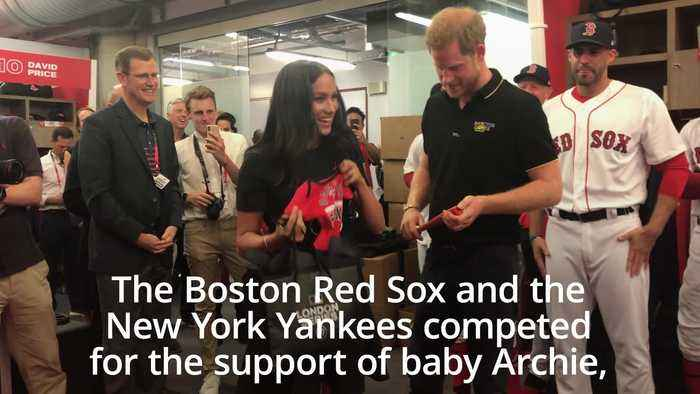 Meghan hugs Red Sox relative as royal couple watch baseball game