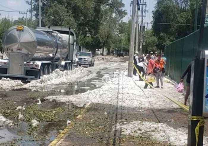 Crews Work to Remove Ice Following Severe Storm in Guadalajara, Mexico