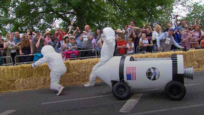 Competitors take part in Red Bull Soapbox Race as it returns to London