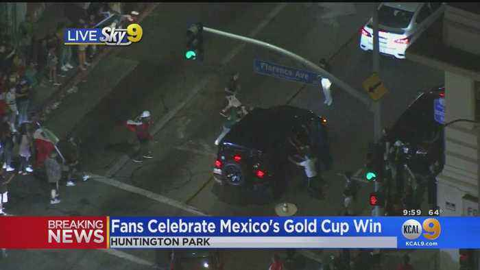 Fans Spill Out Into The Streets To Celebrate Mexico's Gold Cup Win