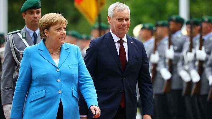 German Chancellor Angela Merkel seen shaking for third time in under a month