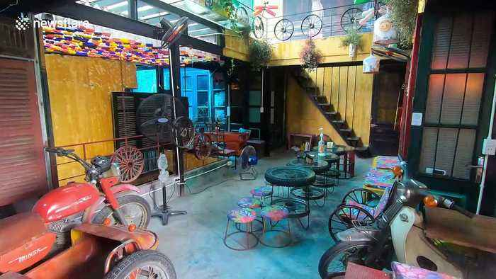 Coffee shop in Vietnam uses recycled materials to brew up business