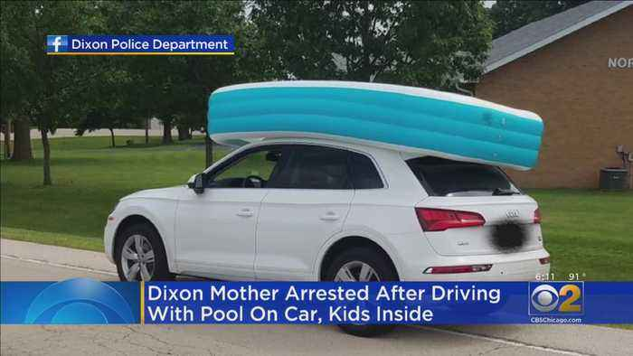 Mom Charged After Driving With Kids Inside Inflatable Pool On Roof
