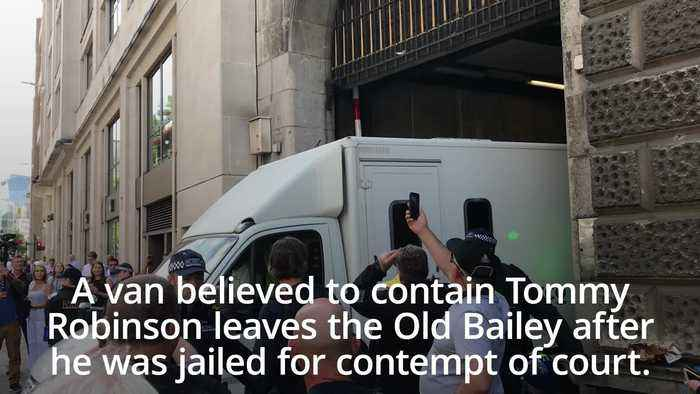 Tommy Robinson leaves court in van after being jailed for nine months