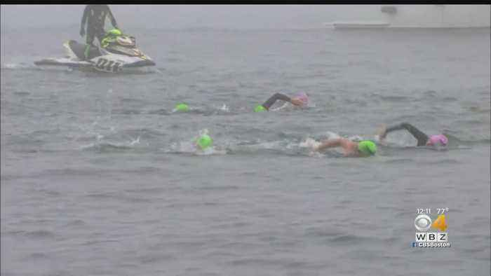 Former Olympians Join Charity 22-Mile Relay Swim In Boston Harbor