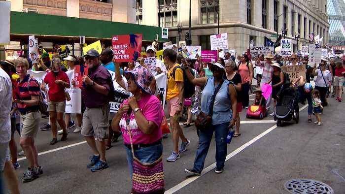 Immigration Policy Rally, March In Daley Plaza