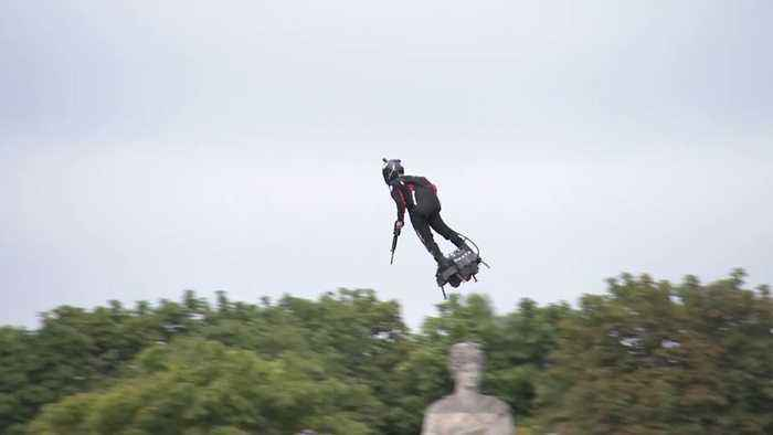 French Inventor Wows Bastille Day Crowd With Flyboard Display