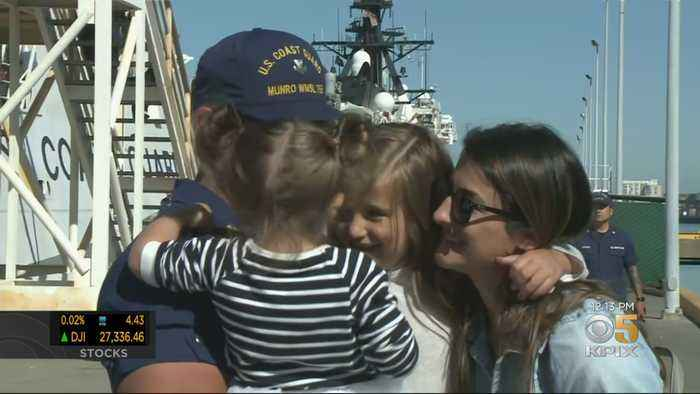 U.S. Coast Guard Cutter Crew Members Welcomed Home By Families