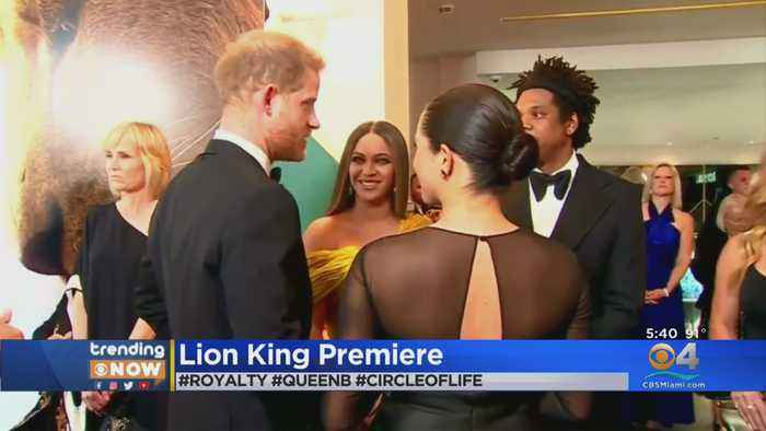 Beyonce & Jay-Z Exchange Greetings With Royals At Lion King Premiere