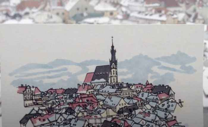 Man draws every city in Europe that he visits along the way