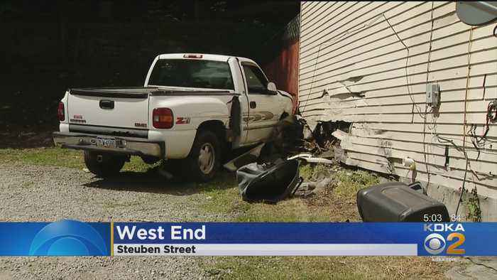 Pickup Truck Slams Into West End House