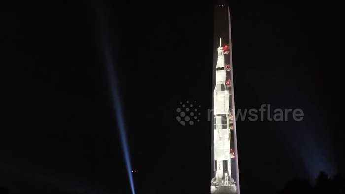 Apollo 11's Saturn V rocket projected to scale on Washington Monument to  mark moon landing anniversary