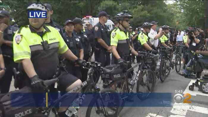 Protesters Blocking Traffic Outside Gracie Mansion