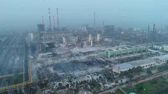 Aerial footage reveals ruins of gas plant after powerful blast
