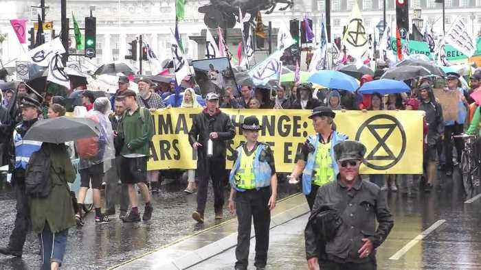 School strikers and Extinction Rebellion march on UK Parliament in latest climate protest