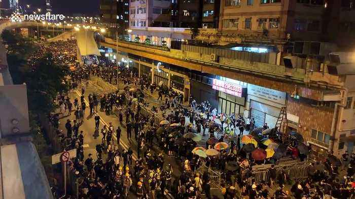 Hong Kong pro-democracy protest continues into the night