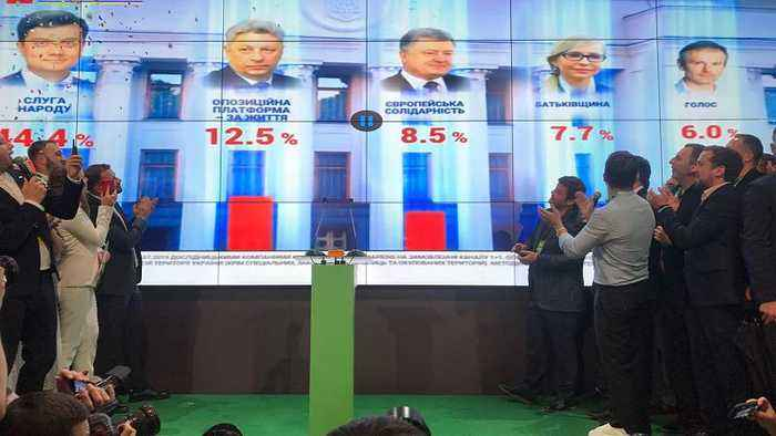 Early exit poll predicts Volodymyr Zelensky's party will triumph in Ukrainian parliamentary election