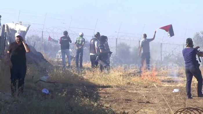 Clashes between Israeli soldiers and protesters near Bethlehem injure journalists