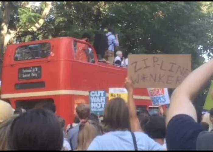 Crowds Protest Boris Johnson at London's Russell Square