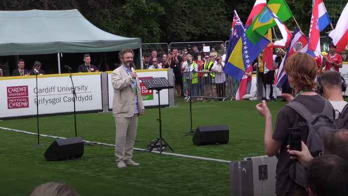 Michael Sheen opens the Homeless World Cup in Cardiff
