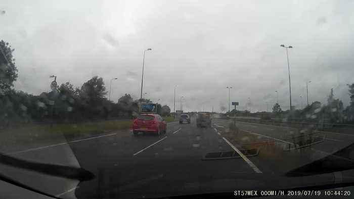 Van Obscures View of Broken Down Vehicle