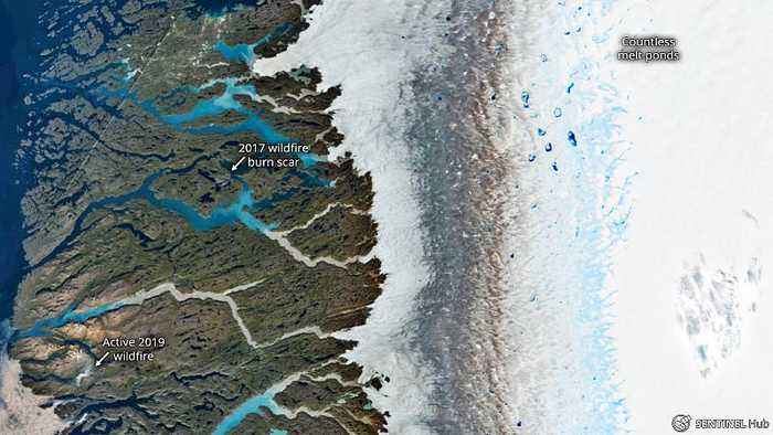 Melting ice & wildfires: Five visuals to sum up Greenland's heatwave