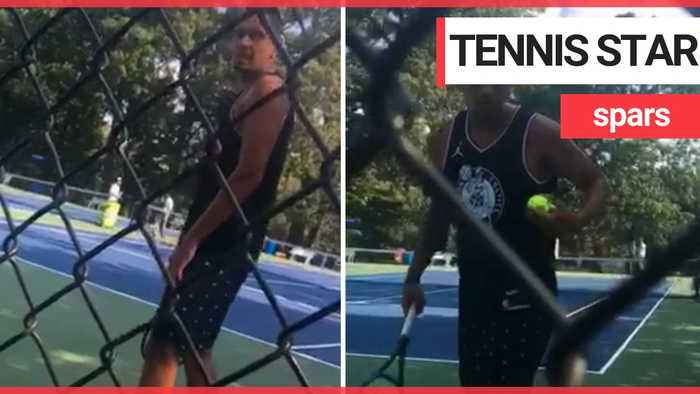 Tennis pro Nick Kyrgios took a fan to task during a practice at Citi Open Tennis Tournament