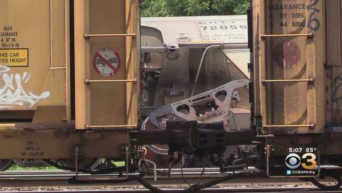 Freight Train Derails In Allentown