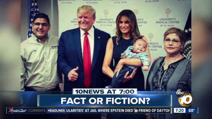 Trump gave thumbs up next to baby orphaned in massacre?