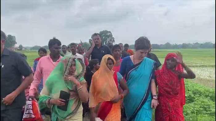 Priyanka Gandhi in Umbha to meet firing victims, BJP cries political stunt