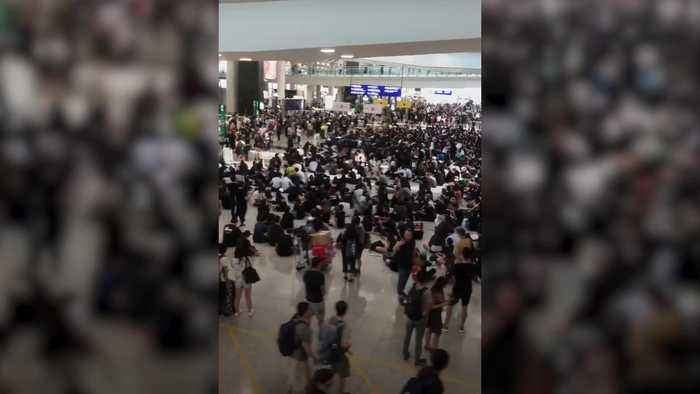 All remaining flights cancelled for a second day amid Hong Kong protests