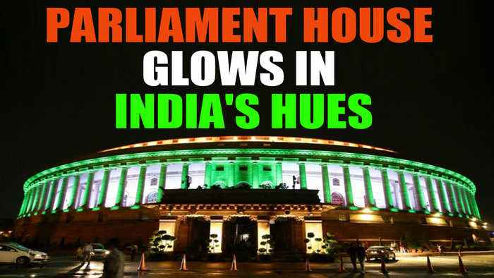 Parliament House glitters as 800 LED bulbs light up its facade