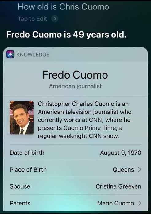 Apple's Siri corrects 'Chris Cuomo' to 'Fredo Cuomo'