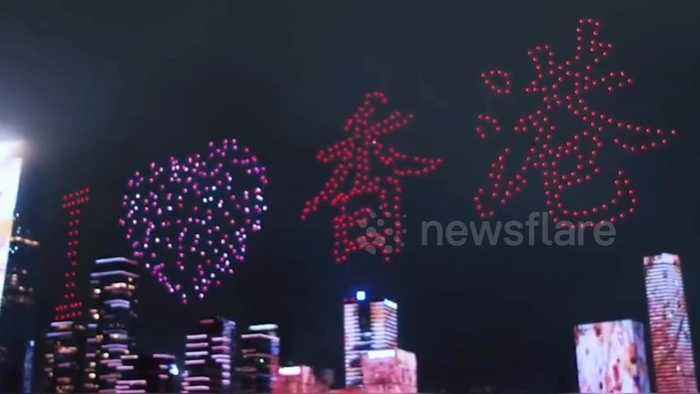 Hundreds of drones display 'I love Hong Kong' message above China's Shenzhen