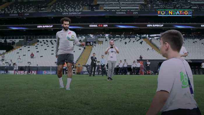 Mohamed Salah's heartwarming game of keepy-uppy with young disabled fan