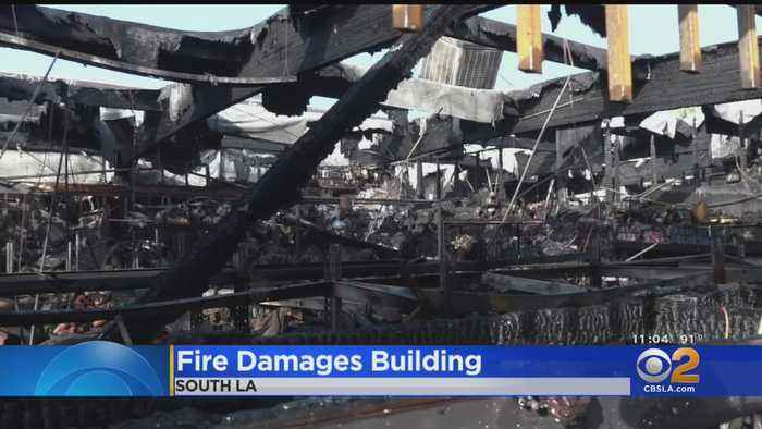 Fire Rips Through South LA Commercial Building