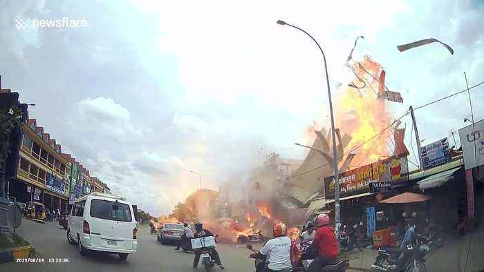 Dramatic moment petrol station explodes in Cambodia, injuring locals and tourists