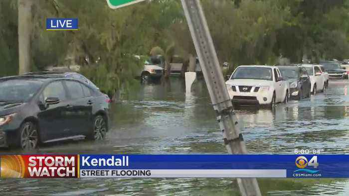 Drivers Dealing With Roads Under Water As Sudden Rainfall Leads To Flash Flooding In SW Miami-Dade