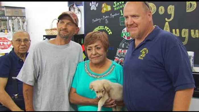 Contractor who rebuilt woman's fire-damaged home buys puppy