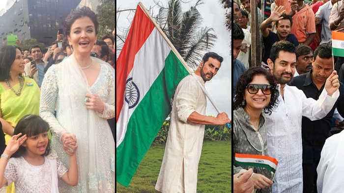 Aishwarya - Aaradhya, Akshay Kumar, Vidya Balan, Aamir Khan Hoist The Indian Flag | Independence Day