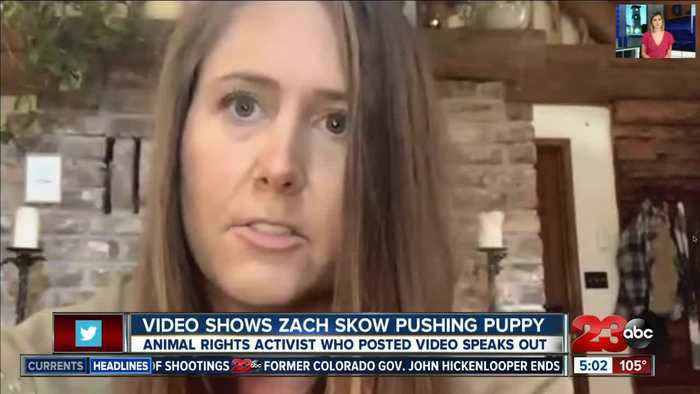Video shows Zach Skow pushing puppy