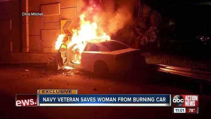 Navy veteran rescues woman after fiery crash in Tampa
